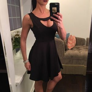 New Flamingo black heart cut out bust line dress